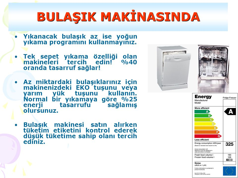 BULAŞIK MAKİNASINDA Yıkanacak bulaşık az ise yoğun yıkama programını kullanmayınız.
