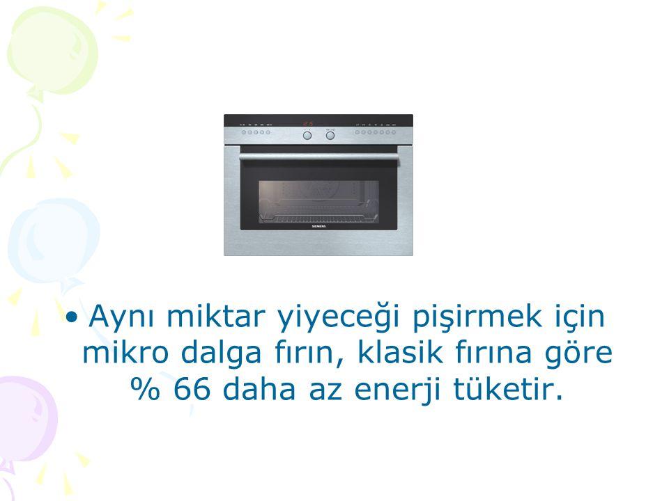 Aynı miktar yiyeceği pişirmek için mikro dalga fırın, klasik fırına göre % 66 daha az enerji tüketir.