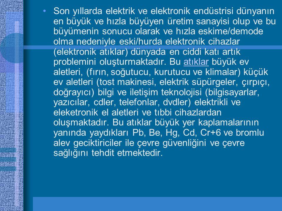Son yıllarda elektrik ve elektronik endüstrisi dünyanın en büyük ve hızla büyüyen üretim sanayisi olup ve bu büyümenin sonucu olarak ve hızla eskime/demode olma nedeniyle eski/hurda elektronik cihazlar (elektronik atıklar) dünyada en ciddi katı artık problemini oluşturmaktadır.