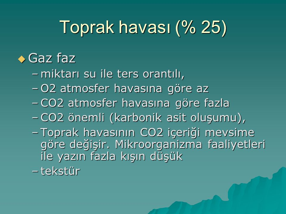 Toprak havası (% 25) Gaz faz miktarı su ile ters orantılı,
