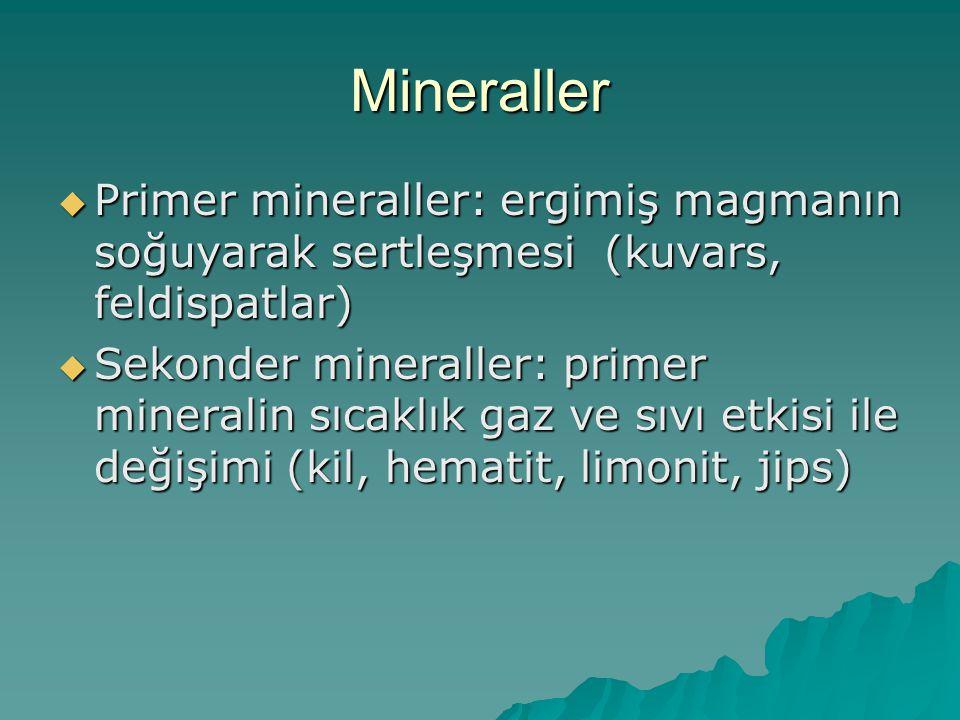 Mineraller Primer mineraller: ergimiş magmanın soğuyarak sertleşmesi (kuvars, feldispatlar)