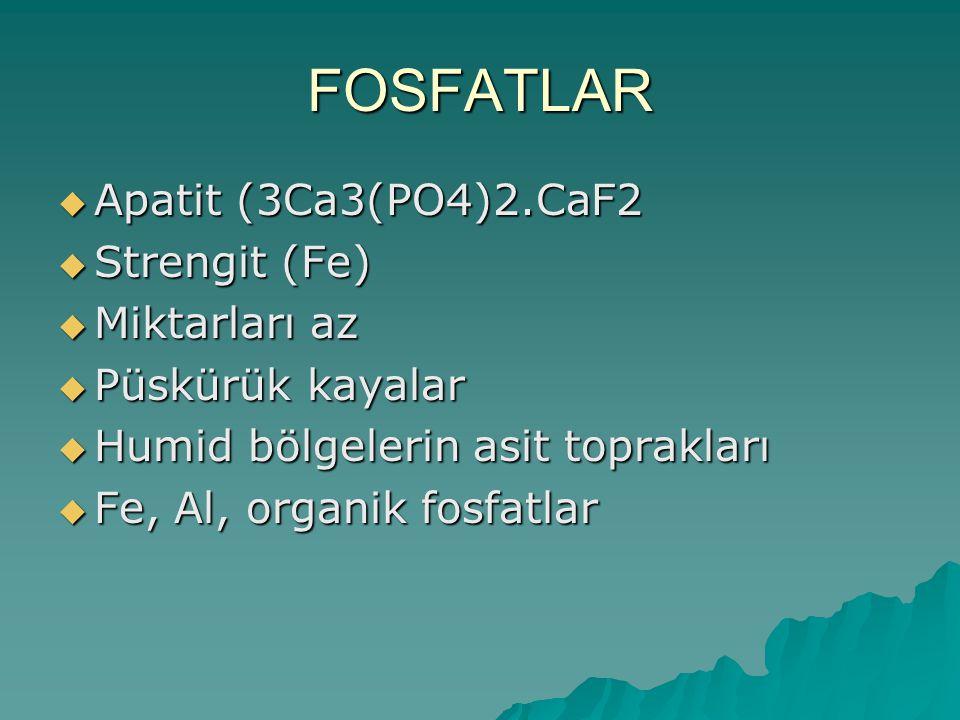 FOSFATLAR Apatit (3Ca3(PO4)2.CaF2 Strengit (Fe) Miktarları az