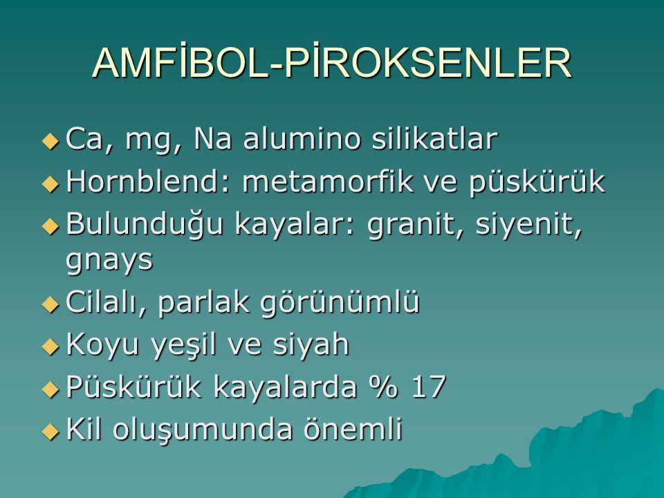 AMFİBOL-PİROKSENLER Ca, mg, Na alumino silikatlar