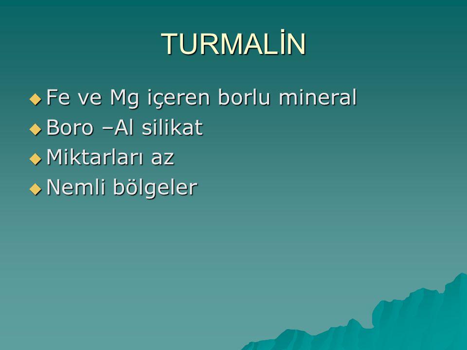 TURMALİN Fe ve Mg içeren borlu mineral Boro –Al silikat Miktarları az