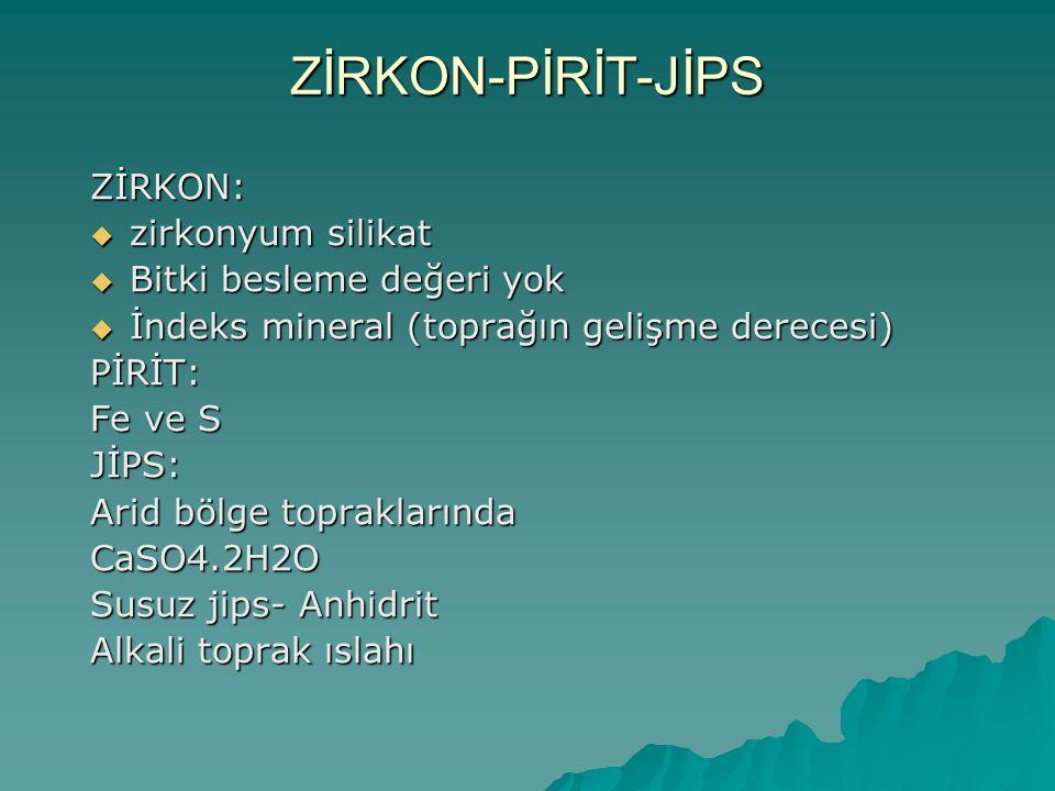 ZİRKON-PİRİT-JİPS ZİRKON: zirkonyum silikat Bitki besleme değeri yok