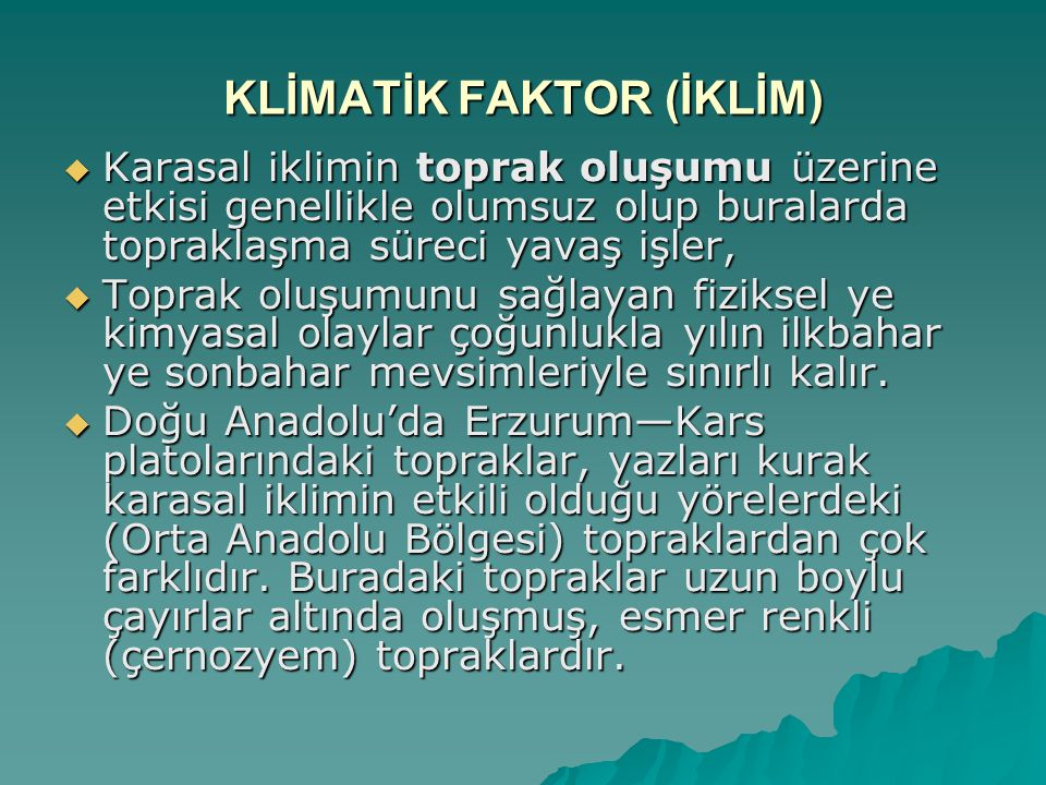 KLİMATİK FAKTOR (İKLİM)