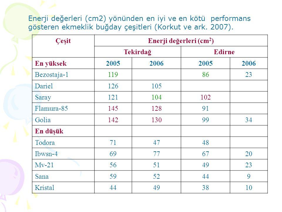 Enerji değerleri (cm2) yönünden en iyi ve en kötü performans gösteren ekmeklik buğday çeşitleri (Korkut ve ark. 2007).