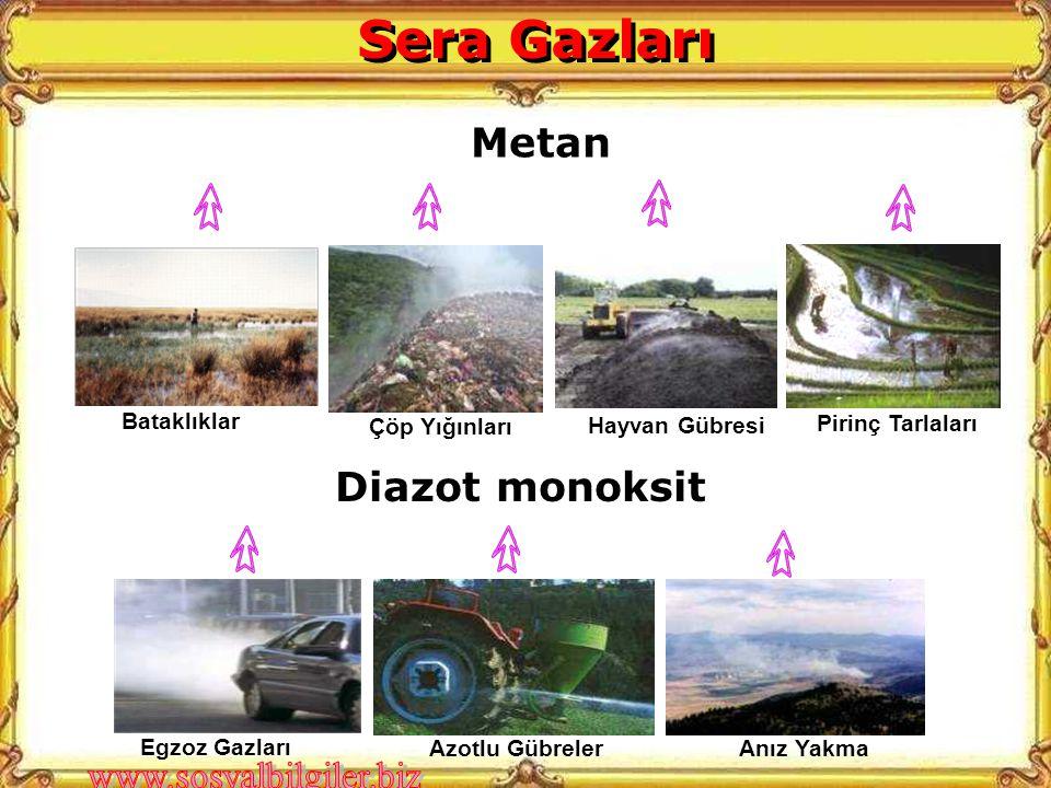Sera Gazları Metan Diazot monoksit Çöp Yığınları Hayvan Gübresi
