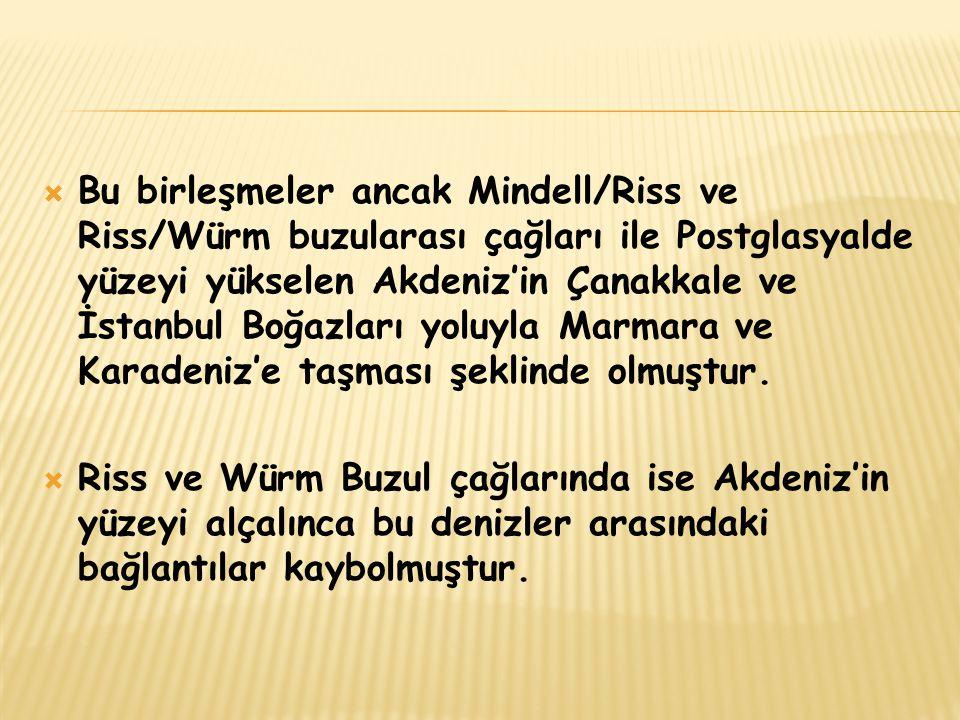 Bu birleşmeler ancak Mindell/Riss ve Riss/Würm buzularası çağları ile Postglasyalde yüzeyi yükselen Akdeniz'in Çanakkale ve İstanbul Boğazları yoluyla Marmara ve Karadeniz'e taşması şeklinde olmuştur.
