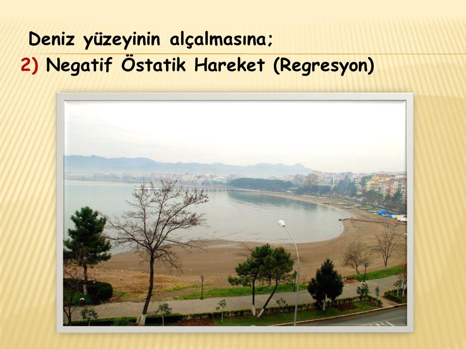 Deniz yüzeyinin alçalmasına; 2) Negatif Östatik Hareket (Regresyon)