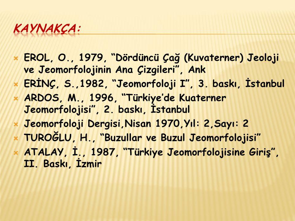 Kaynakça: EROL, O., 1979, Dördüncü Çağ (Kuvaterner) Jeoloji ve Jeomorfolojinin Ana Çizgileri , Ank.