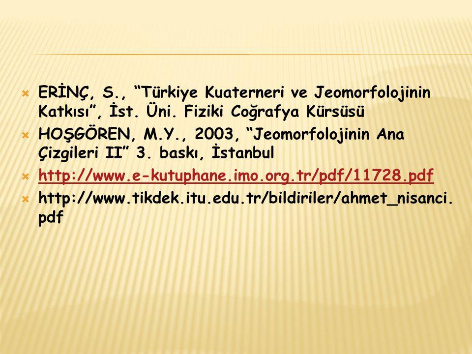 ERİNÇ, S. , Türkiye Kuaterneri ve Jeomorfolojinin Katkısı , İst. Üni