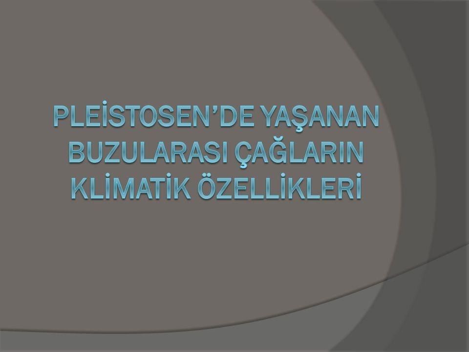 Pleİstosen'de yaşanan buzularasi çağlarin klİmatİk ÖZellİklerİ