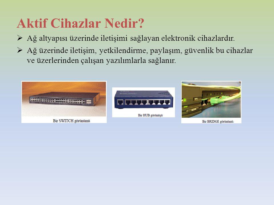 Aktif Cihazlar Nedir Ağ altyapısı üzerinde iletişimi sağlayan elektronik cihazlardır.