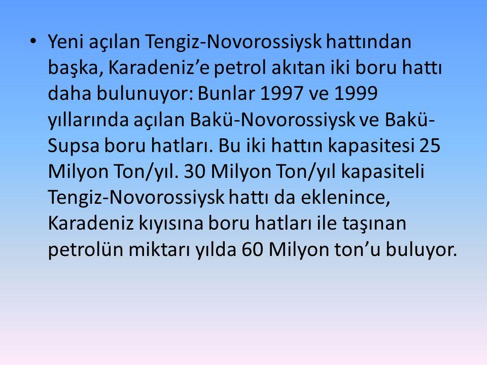 Yeni açılan Tengiz-Novorossiysk hattından başka, Karadeniz'e petrol akıtan iki boru hattı daha bulunuyor: Bunlar 1997 ve 1999 yıllarında açılan Bakü-Novorossiysk ve Bakü-Supsa boru hatları.