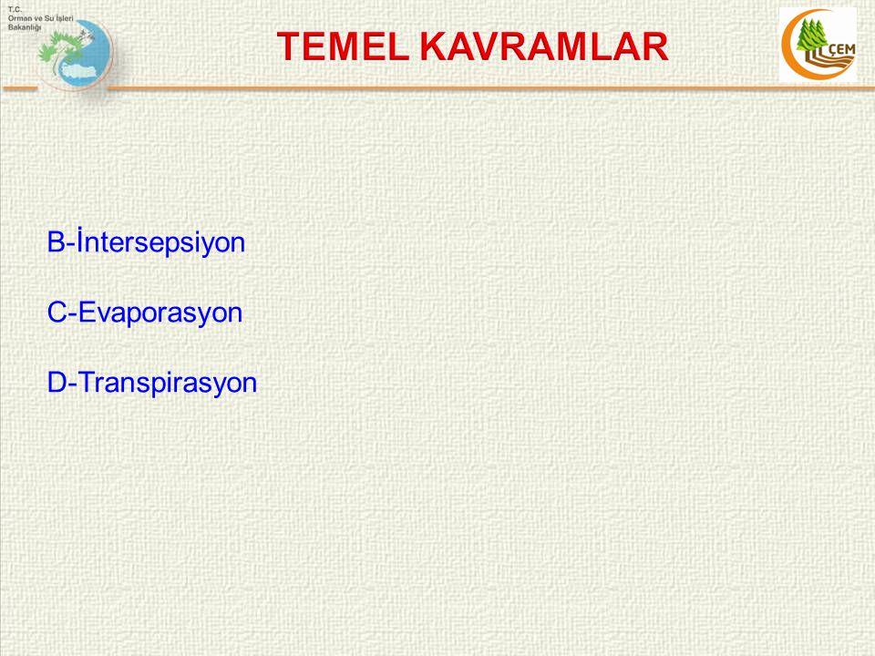 TEMEL KAVRAMLAR B-İntersepsiyon C-Evaporasyon D-Transpirasyon