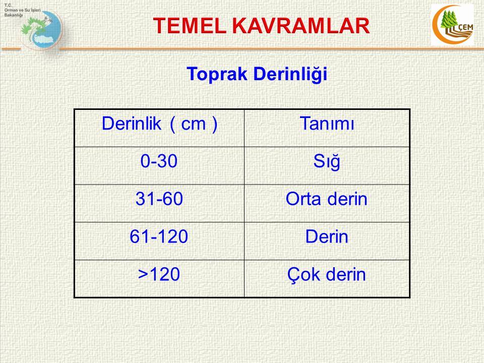 TEMEL KAVRAMLAR Toprak Derinliği Derinlik ( cm ) Tanımı 0-30 Sığ 31-60