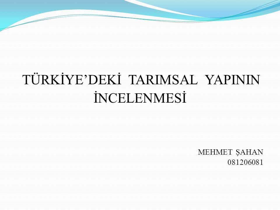 TÜRKİYE'DEKİ TARIMSAL YAPININ