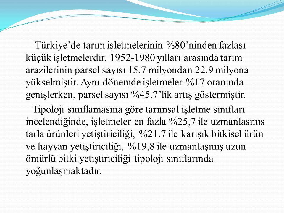 Türkiye'de tarım işletmelerinin %80'ninden fazlası küçük işletmelerdir