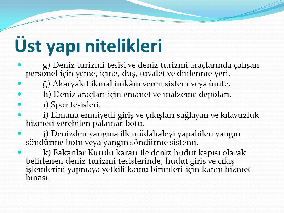 Üst yapı nitelikleri g) Deniz turizmi tesisi ve deniz turizmi araçlarında çalışan personel için yeme, içme, duş, tuvalet ve dinlenme yeri.