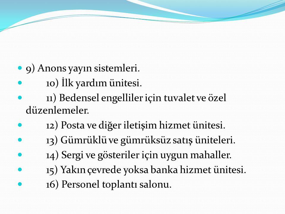 9) Anons yayın sistemleri.