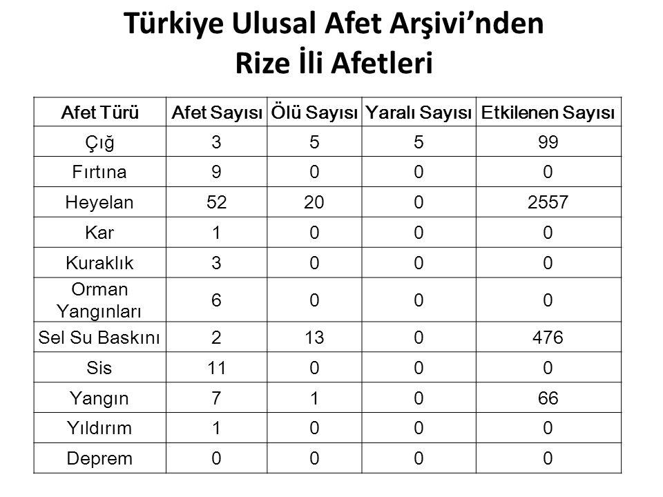 Türkiye Ulusal Afet Arşivi'nden Rize İli Afetleri