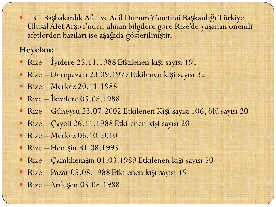 T.C. Başbakanlık Afet ve Acil Durum Yönetimi Başkanlığı Türkiye Ulusal Afet Arşivi'nden alınan bilgilere göre Rize'de yaşanan önemli afetlerden bazıları ise aşağıda gösterilmiştir.