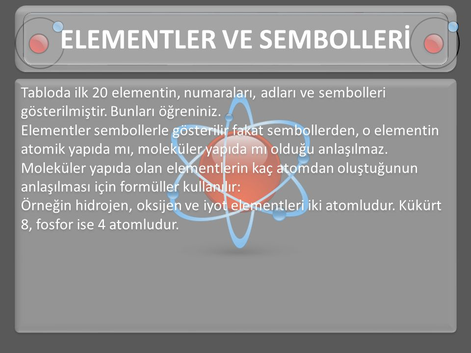 ELEMENTLER VE SEMBOLLERİ