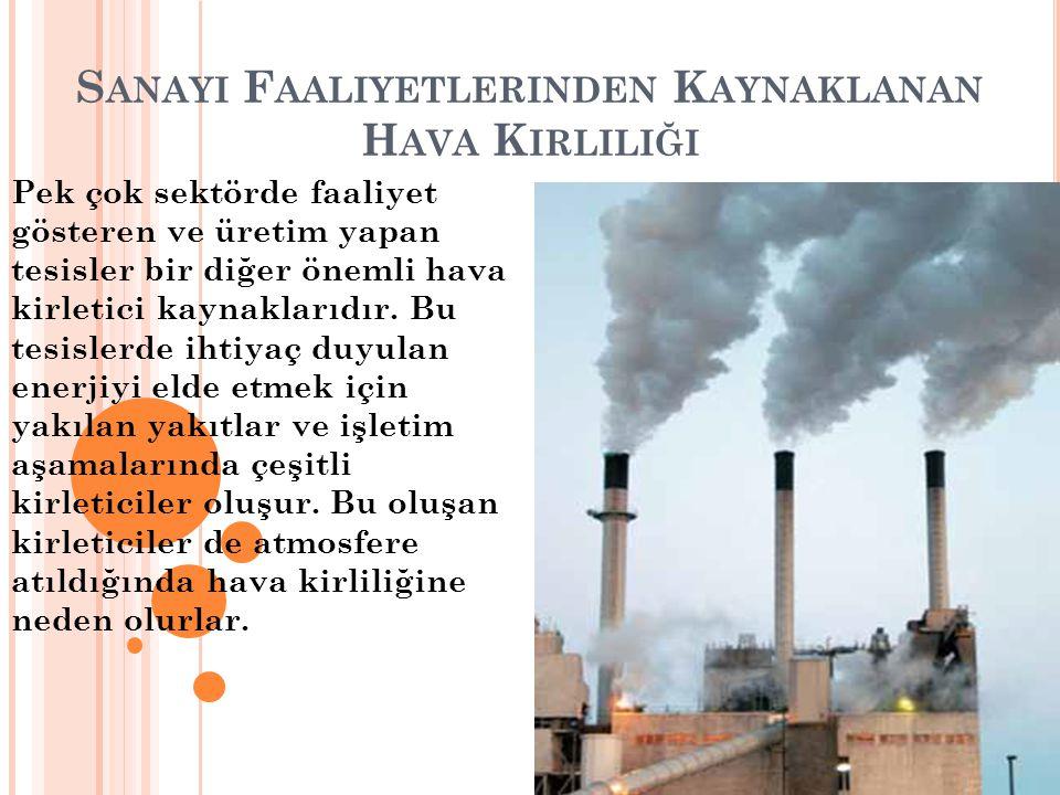Sanayi Faaliyetlerinden Kaynaklanan Hava Kirliliği