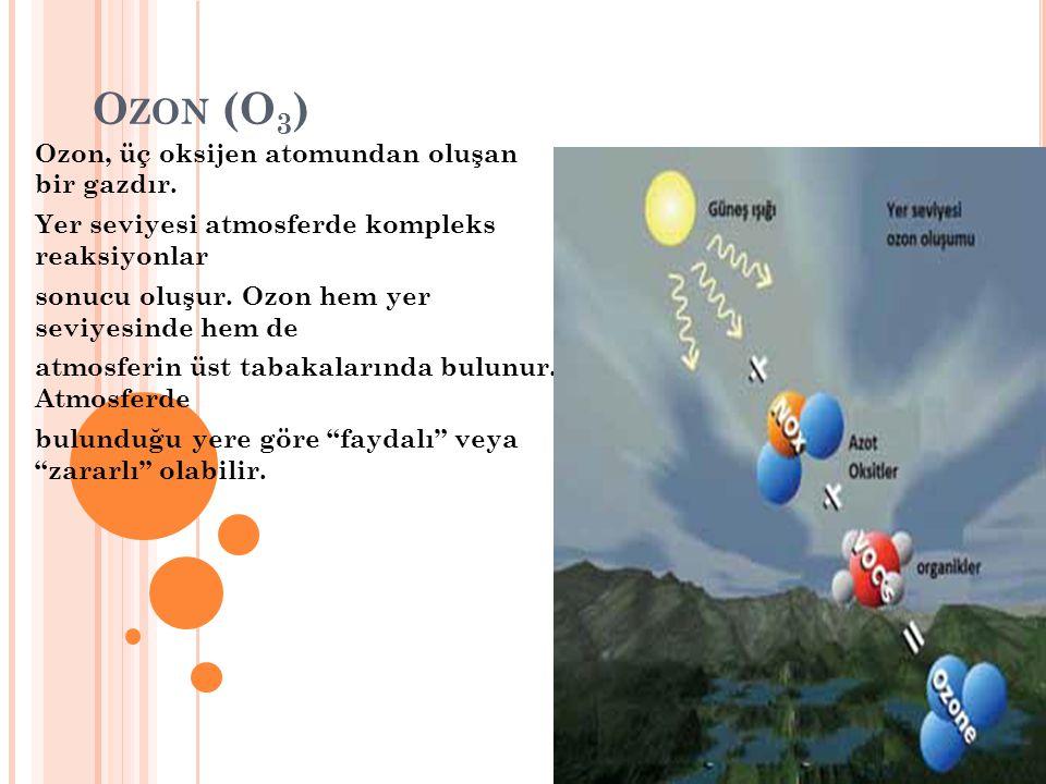 Ozon (O3) Ozon, üç oksijen atomundan oluşan bir gazdır.