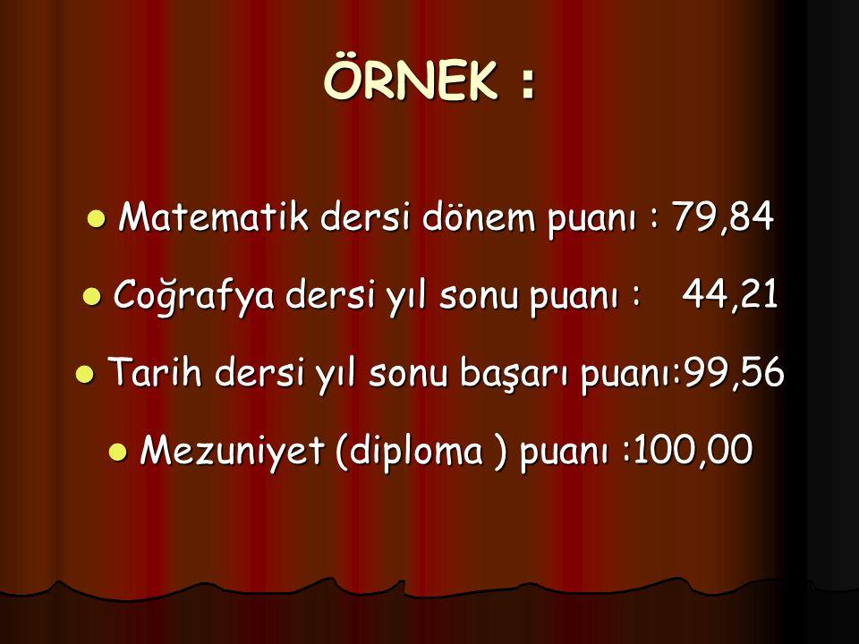 ÖRNEK : Matematik dersi dönem puanı : 79,84