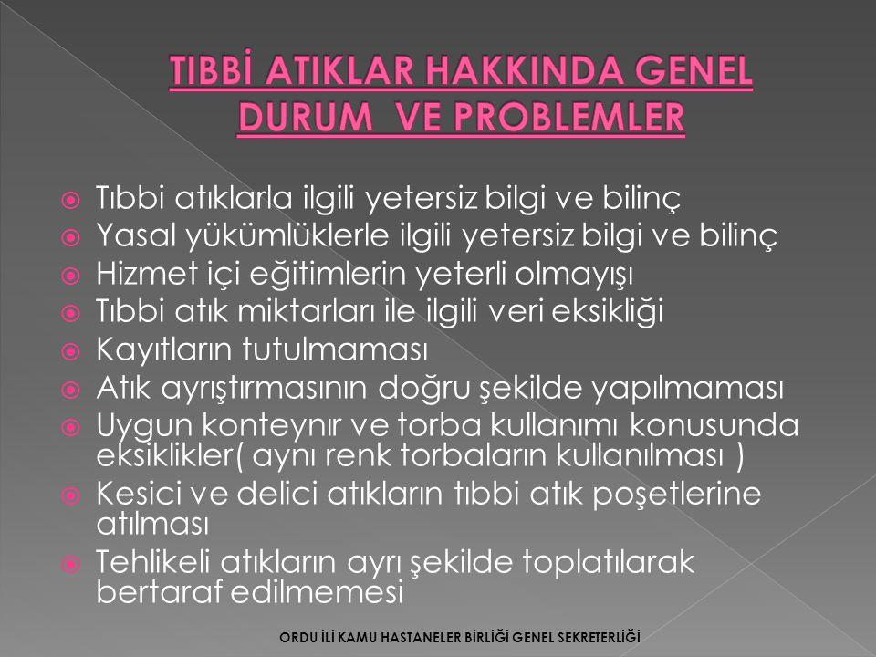 TIBBİ ATIKLAR HAKKINDA GENEL DURUM VE PROBLEMLER