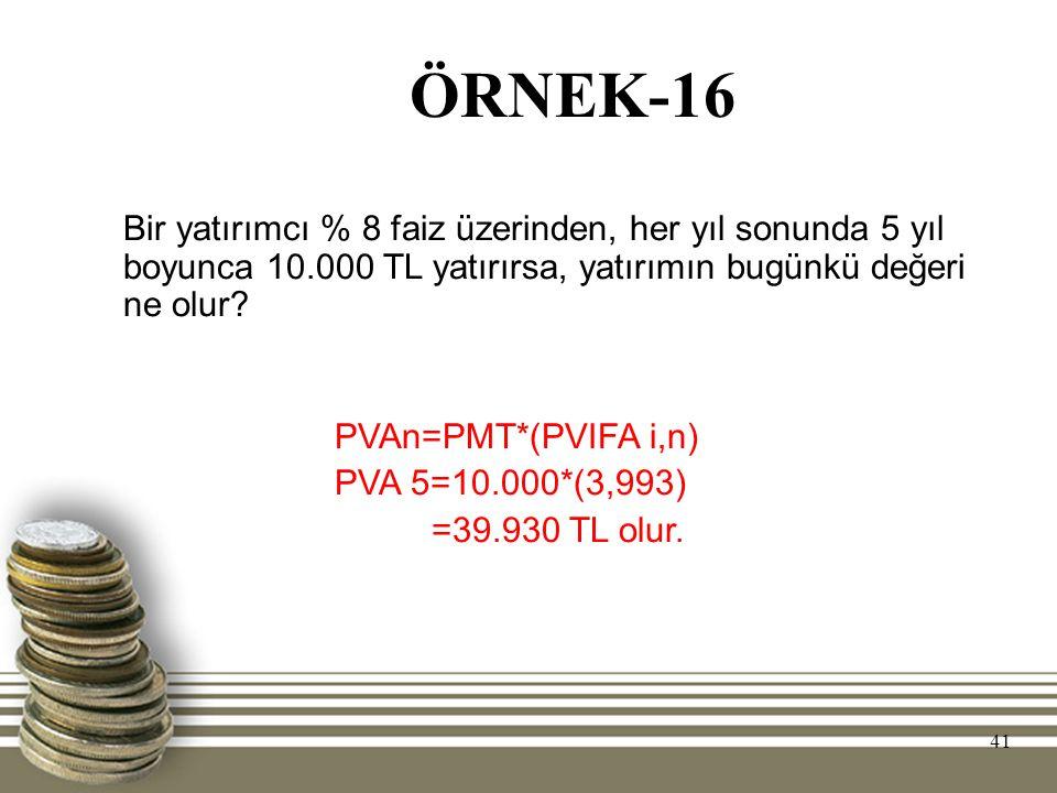 ÖRNEK-16 Bir yatırımcı % 8 faiz üzerinden, her yıl sonunda 5 yıl boyunca 10.000 TL yatırırsa, yatırımın bugünkü değeri ne olur