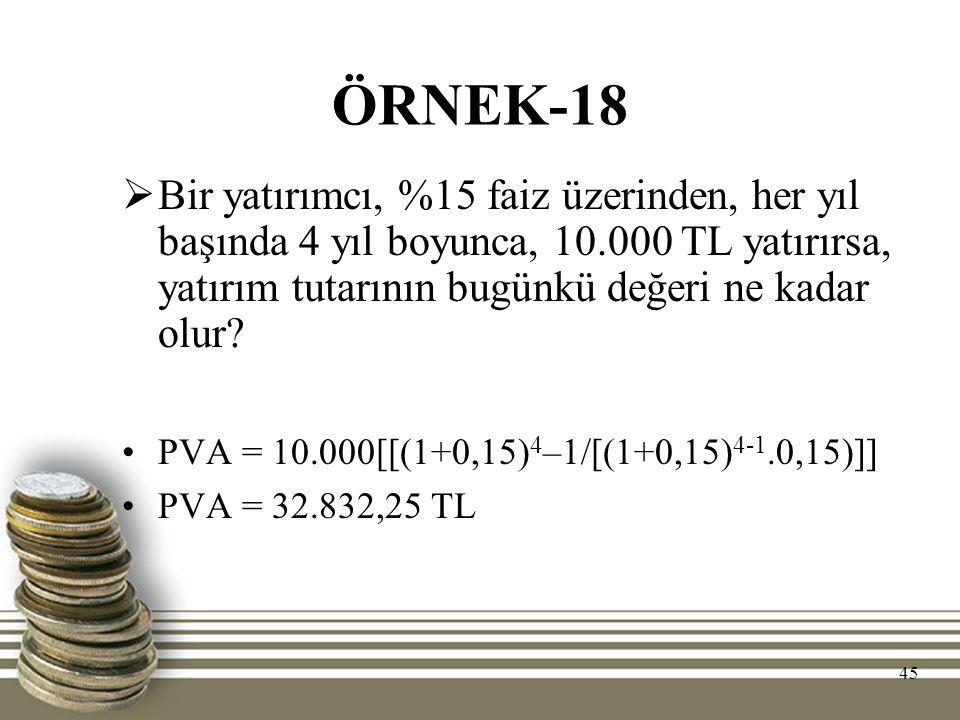 ÖRNEK-18 Bir yatırımcı, %15 faiz üzerinden, her yıl başında 4 yıl boyunca, 10.000 TL yatırırsa, yatırım tutarının bugünkü değeri ne kadar olur