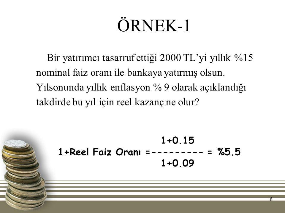 ÖRNEK-1 Bir yatırımcı tasarruf ettiği 2000 TL'yi yıllık %15