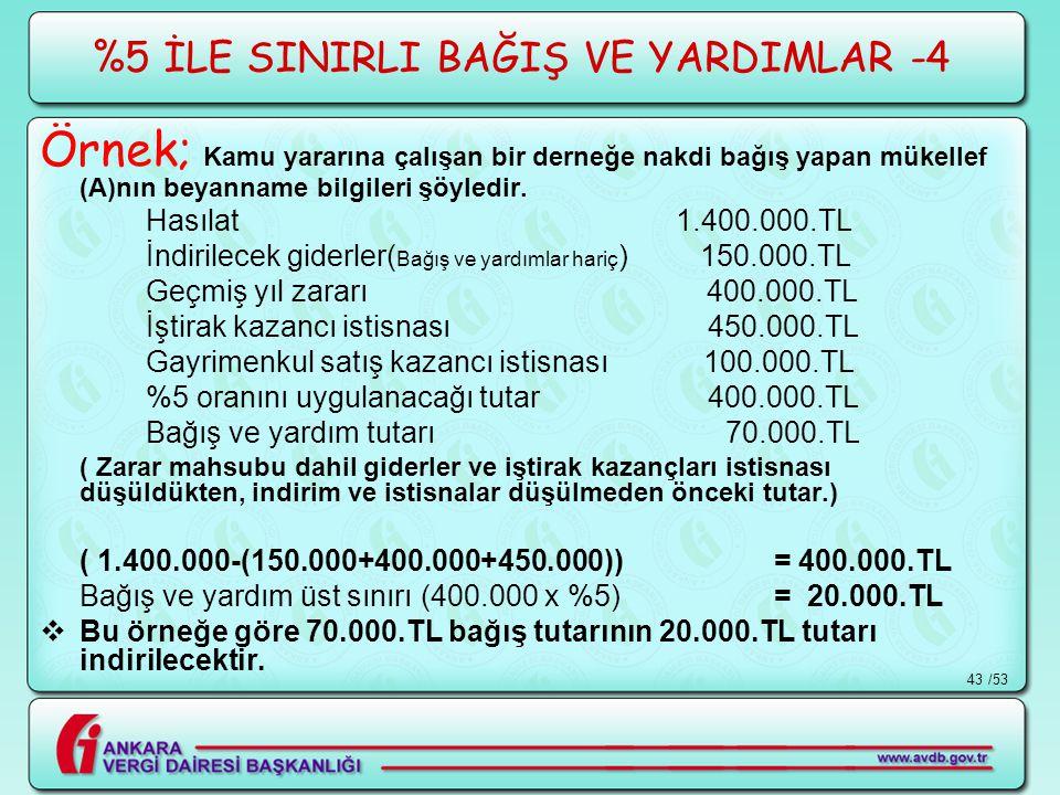 %5 İLE SINIRLI BAĞIŞ VE YARDIMLAR -4