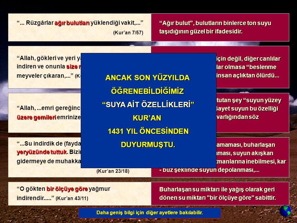 SUYA AİT ÖZELLİKLERİ KUR'AN 1431 YIL ÖNCESİNDEN DUYURMUŞTU.