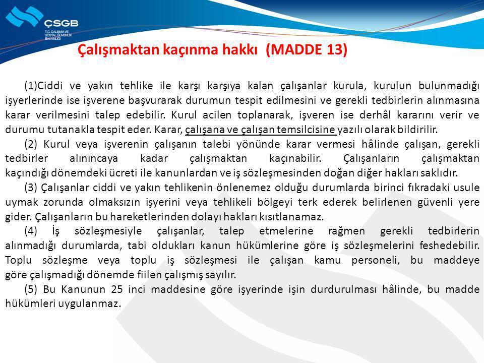 Çalışmaktan kaçınma hakkı (MADDE 13)