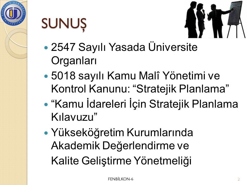 SUNUŞ 2547 Sayılı Yasada Üniversite Organları