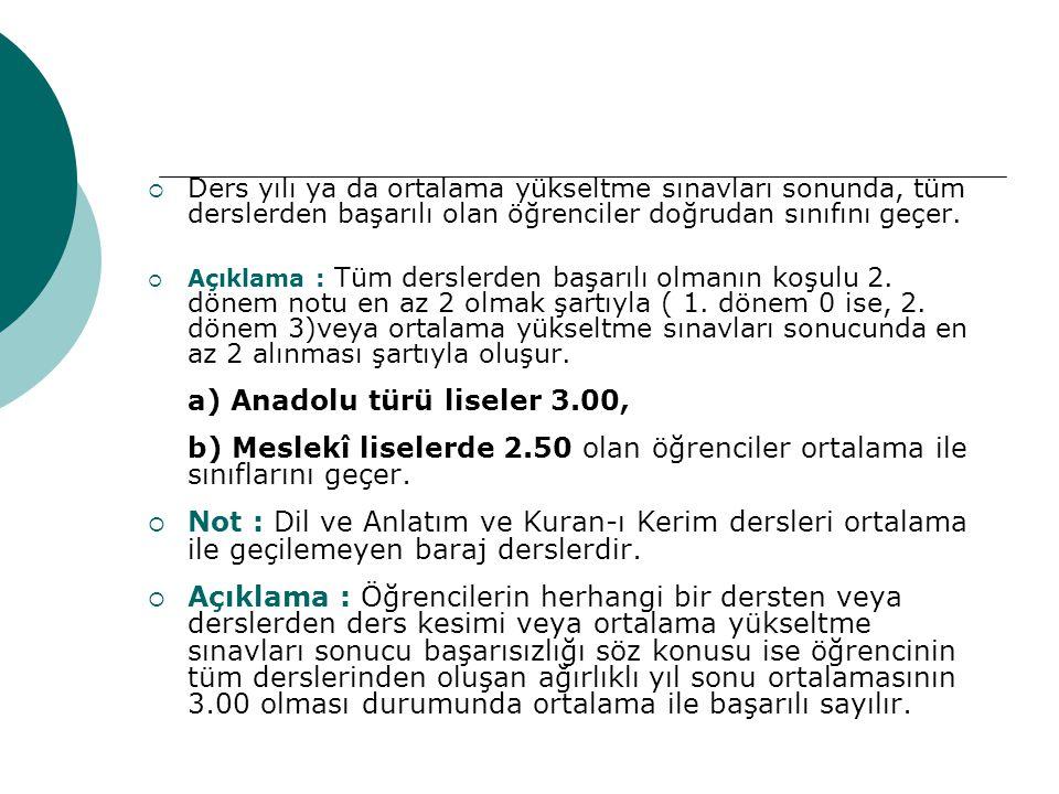 a) Anadolu türü liseler 3.00,