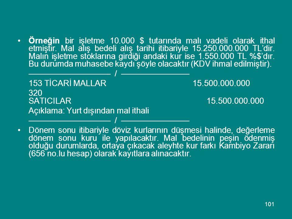Örneğin bir işletme 10.000 $ tutarında malı vadeli olarak ithal etmiştir. Mal alış bedeli alış tarihi itibariyle 15.250.000.000 TL'dir. Malın işletme stoklarına girdiği andaki kur ise 1.550.000 TL %$'dır. Bu durumda muhasebe kaydı şöyle olacaktır (KDV ihmal edilmiştir).