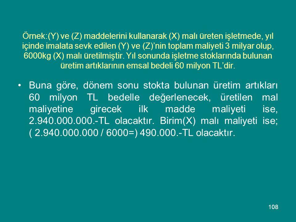 Örnek:(Y) ve (Z) maddelerini kullanarak (X) malı üreten işletmede, yıl içinde imalata sevk edilen (Y) ve (Z)'nin toplam maliyeti 3 milyar olup, 6000kg (X) malı üretilmiştir. Yıl sonunda işletme stoklarında bulunan üretim artıklarının emsal bedeli 60 milyon TL'dir.