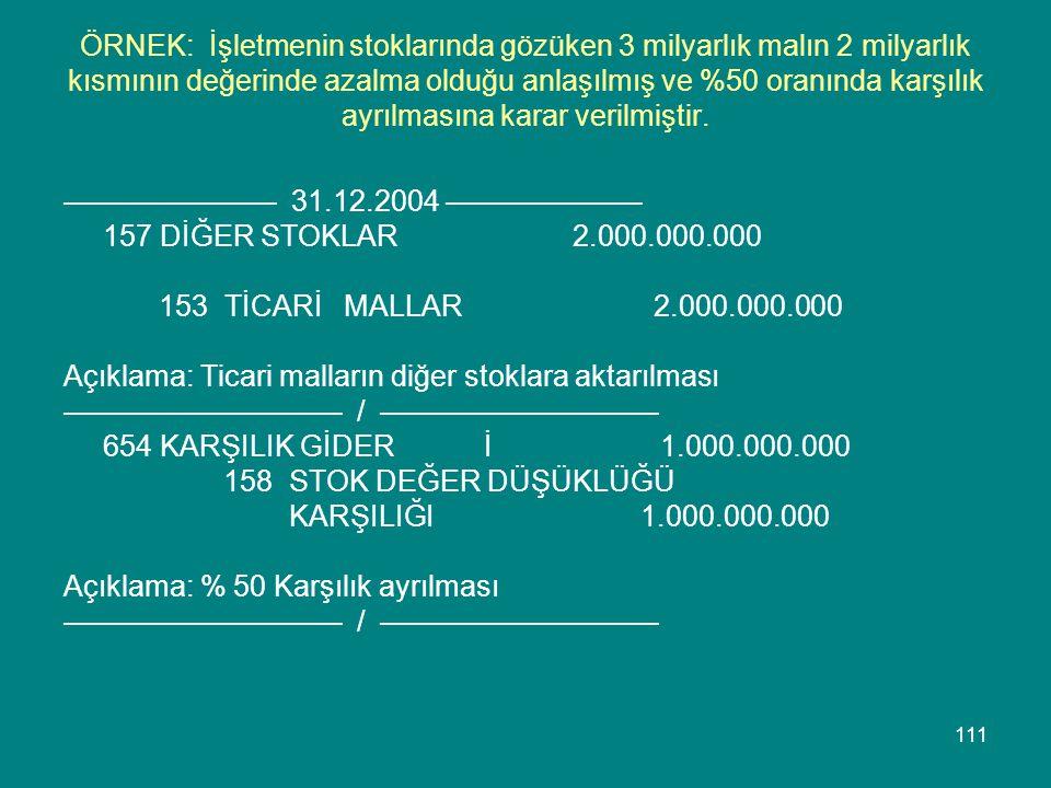 ÖRNEK: İşletmenin stoklarında gözüken 3 milyarlık malın 2 milyarlık kısmının değerinde azalma olduğu anlaşılmış ve %50 oranında karşılık ayrılmasına karar verilmiştir.