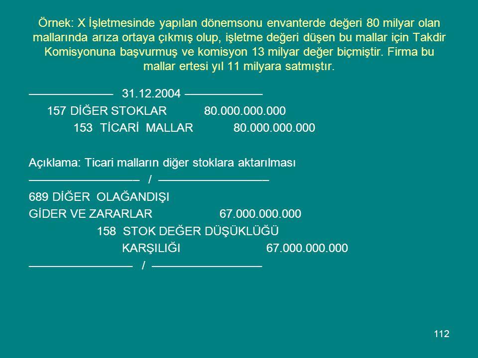 Örnek: X İşletmesinde yapılan dönemsonu envanterde değeri 80 milyar olan mallarında arıza ortaya çıkmış olup, işletme değeri düşen bu mallar için Takdir Komisyonuna başvurmuş ve komisyon 13 milyar değer biçmiştir. Firma bu mallar ertesi yıl 11 milyara satmıştır.