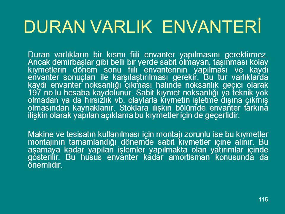 DURAN VARLIK ENVANTERİ