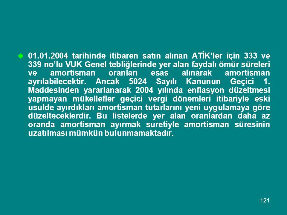 01.01.2004 tarihinde itibaren satın alınan ATİK'ler için 333 ve 339 no'lu VUK Genel tebliğlerinde yer alan faydalı ömür süreleri ve amortisman oranları esas alınarak amortisman ayrılabilecektir.
