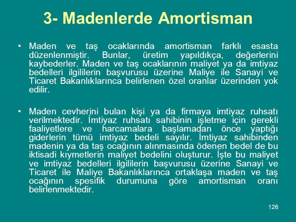 3- Madenlerde Amortisman