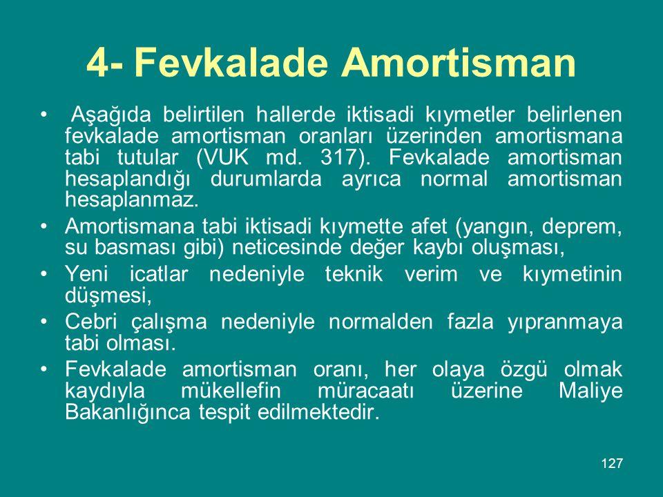 4- Fevkalade Amortisman