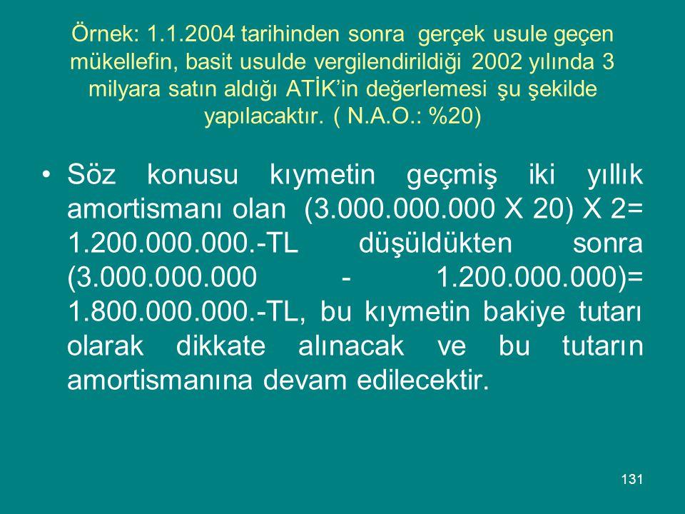 Örnek: 1.1.2004 tarihinden sonra gerçek usule geçen mükellefin, basit usulde vergilendirildiği 2002 yılında 3 milyara satın aldığı ATİK'in değerlemesi şu şekilde yapılacaktır. ( N.A.O.: %20)