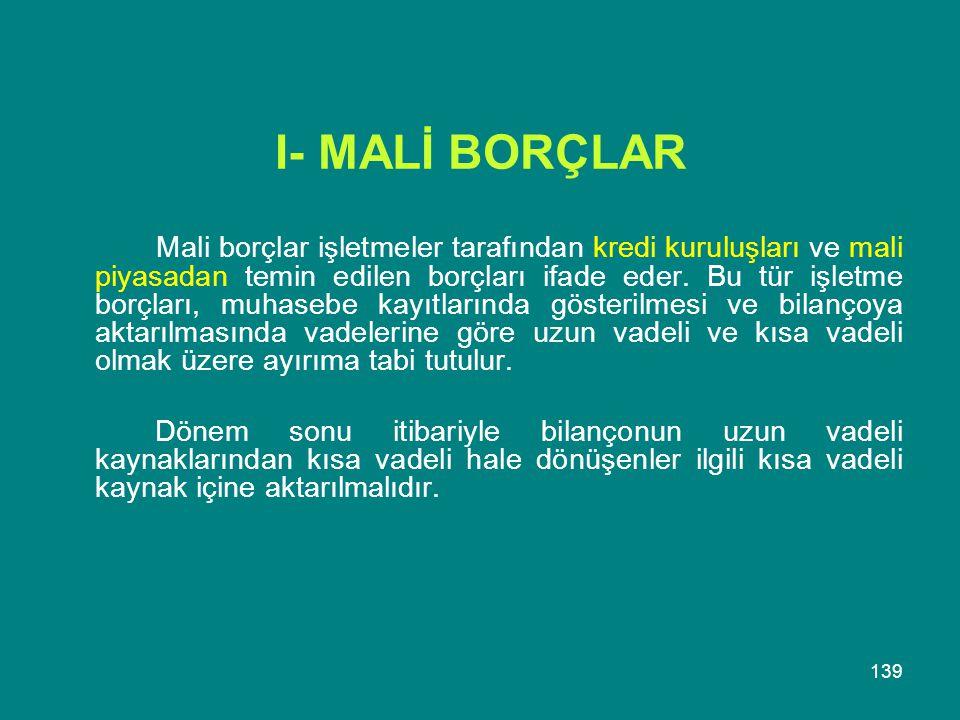 I- MALİ BORÇLAR